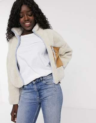 Pull&Bear contrast pocket fleece jacket in ecru-White