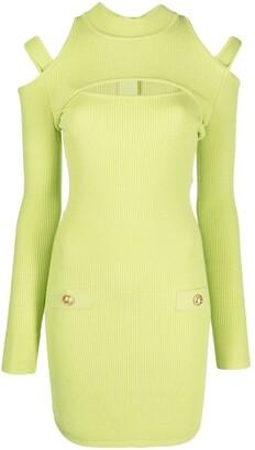 Balmain Cut-Out Rib-Knit Dress