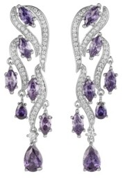 A&M A & M Silver-Tone Amethyst Accent Cluster Drop Earrings