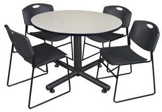 Symple Stuff Marin Round 5 Piece Breakroom Table and Chair Set Table Finish: Maple, Chair Finish: Black