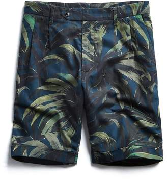 Todd Snyder Made in New York Olive Palm Print Pleated Short