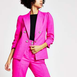 River Island Bright pink ruched puff sleeve blazer