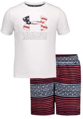 Under Armour Little Boy's Freedom Striped 2-Piece Tee & Volley Shorts Set