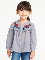 Old Navy Floral-Embroidered Ruffled Shirt for Toddler Girls