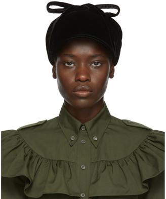 Miu Miu Black Velvet Flap Cap