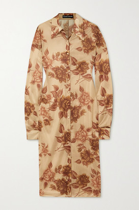 Kwaidan Editions Floral-print Jersey Shirt Dress - Beige