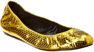 Lanvin Classic Snakeskin-Embossed Metallic Leather Ballet Flat