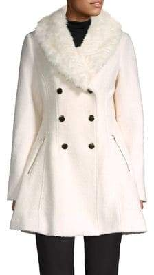 GUESS Faux Fur Shawl Collar Double-Breasted Flare Coat