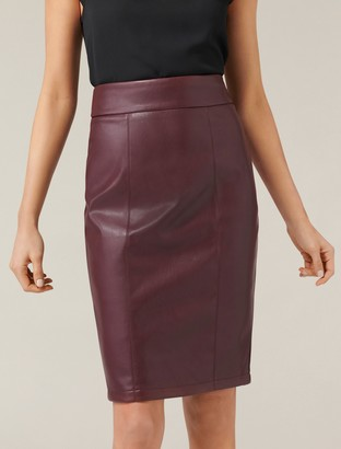 Forever New Alessia Faux Leather Pencil Skirt - Malbec - 14