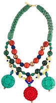 Oscar de la Renta Multistone & Carved Resin Three Strand Necklace