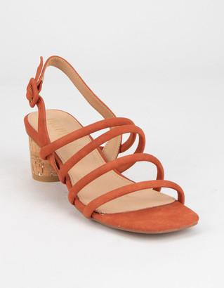 MI.IM Zoey Strappy Cork Womens Coral Block Heels