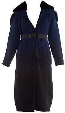 Fendi Women's Mink Collar Ombré Cashmere & Wool Duster Cardigan