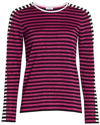 Akris Punto Striped Pullover Lurex Wool Top