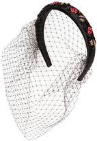 RED Valentino Satin Headband W/ Veil & Beaded Ladybugs