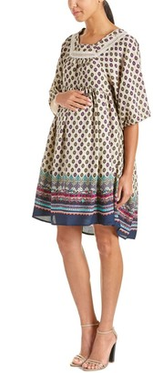 Everly Grey Women's Maternity Willow Boho 3/4 Sleeve Dress with High Low Hem