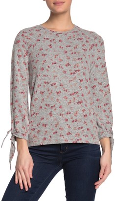 Lucky Brand Floral Tie Sleeve Knit Sweater