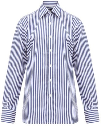 Emma Willis Butcher-stripe Cotton Shirt - Womens - Navy White