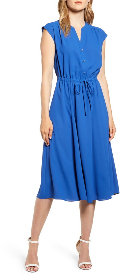 Anne Klein Cap Sleeve Midi Dress