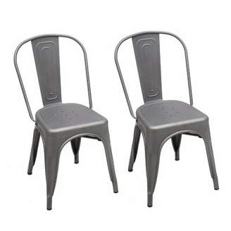 Homebeez Metal Stackable Chic Dining Bistro Cafe Side Chair Homebeez Finish: Gray