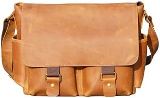 Touri 16'' Genuine Leather Messenger In Tannish Brown