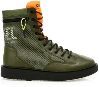 Diesel Cage Leather Trim Boots