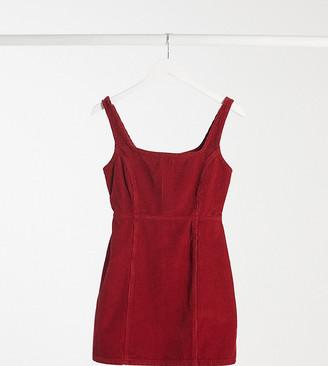 ASOS DESIGN Petite cord square neck pinny in red