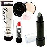 Moreton Gifts The Spooky Halloween Ultimate Make Up Set Black Lipstick , White Foundation , White Powder And Red Lipstick By by Moreton Gifts