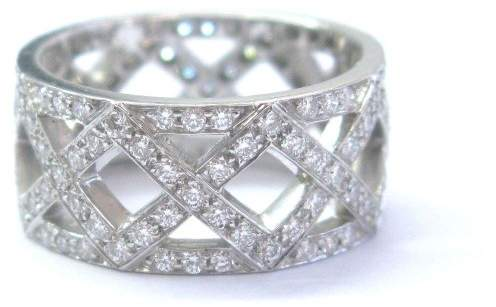 Tiffany & Co. Platinum Braided 1.25ct Diamond 8.5mm Wide Band Size 5 Ring