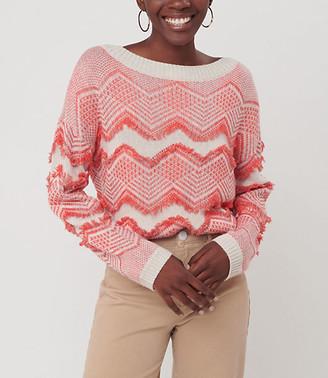 LOFT Zig Zag Fringe Sweater