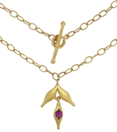 Cathy Waterman Ruby Flexible Wheat Charm Necklace