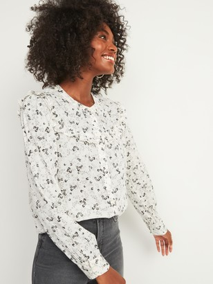 Old Navy Floral-Print Ruffle-Yoke Button-Front Blouse for Women
