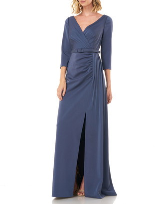 Kay Unger New York Capri V-Neck 3/4-Sleeve Belted Stretch Faille Gown