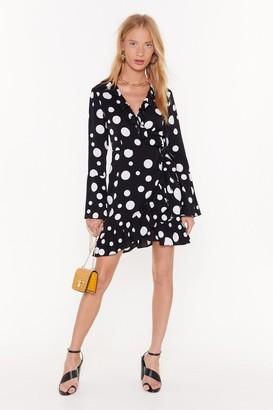 Nasty Gal Womens Dot With Me Wrap Mini Dress - Black - 4, Black