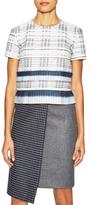 Suno Blue Plaid Short Sleeve Top