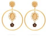 Dolce & Gabbana Cameo-charm Hoop Clip Earrings - Womens - Gold