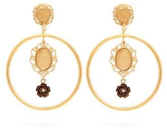 Dolce & Gabbana Cameo-charm Hoop Clip Earrings - Gold