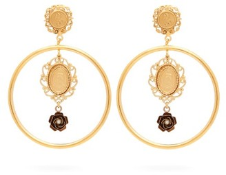 Dolce & Gabbana Cameo-charm Hoop Clip Earrings - Womens - Gold