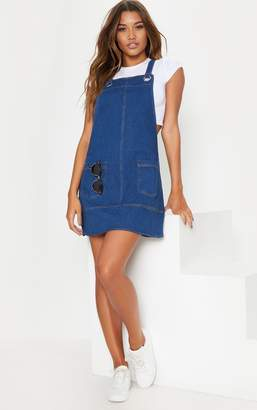 PrettyLittleThing Mid Wash Denim Pinafore Dress