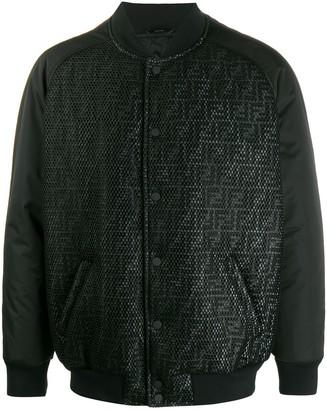 Fendi FF reflective motif bomber jacket