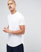 Asos Super Longline T-Shirt With Curved Front And Back Hem In White Heavy Mesh Fabric