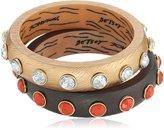 """Betsey Johnson Throwback Betsey"""" Faceted Stone Set Bangle Bracelet"""