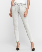 Express High Waisted Denim Perfect Gray Faded Ankle Leggings