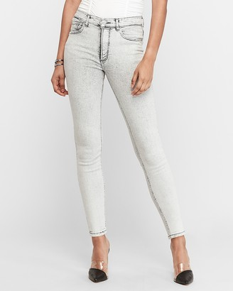 Express High Waisted Denim Perfect Gray Faded Ankle Skinny Jeans
