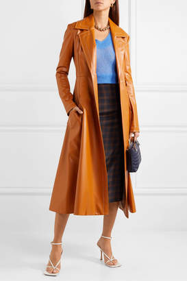 A.W.A.K.E. Mode Belted Faux Leather Coat - Orange