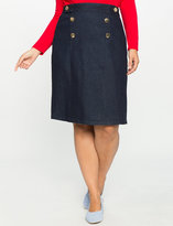 ELOQUII Plus Size Nautical A-Line Denim Skirt