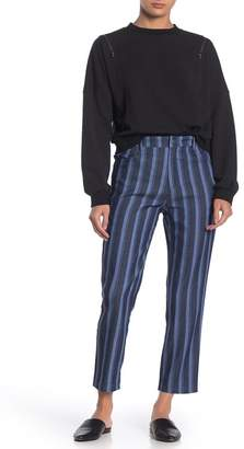 Wild Honey Striped High Waisted Chambray Twill Pants