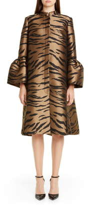 Carolina Herrera Tiger Jacquard Cape Coat
