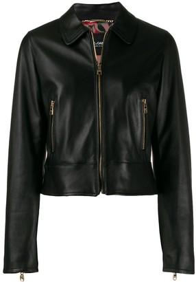Dolce & Gabbana Cropped Lambskin Leather Jacket