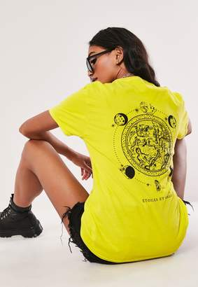 Missguided Neon Yellow Back Planet Graphic T Shirt