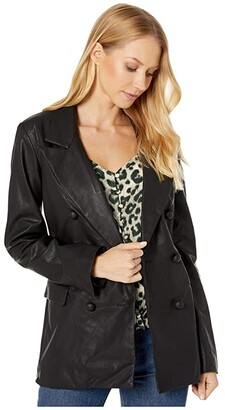 Blank NYC Vegan Leather Long Double Breasted Blazer in Carbon